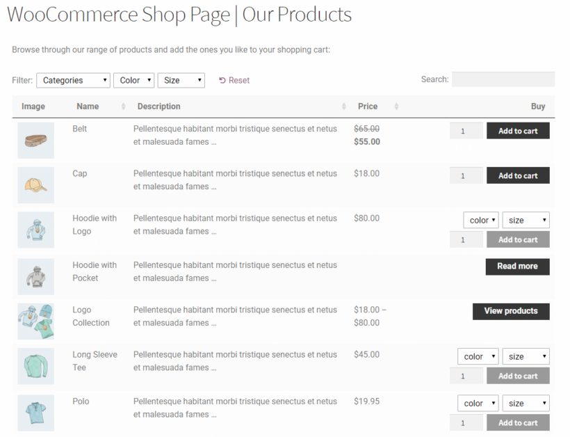 WooCommerce Product Table with short description on the front-end