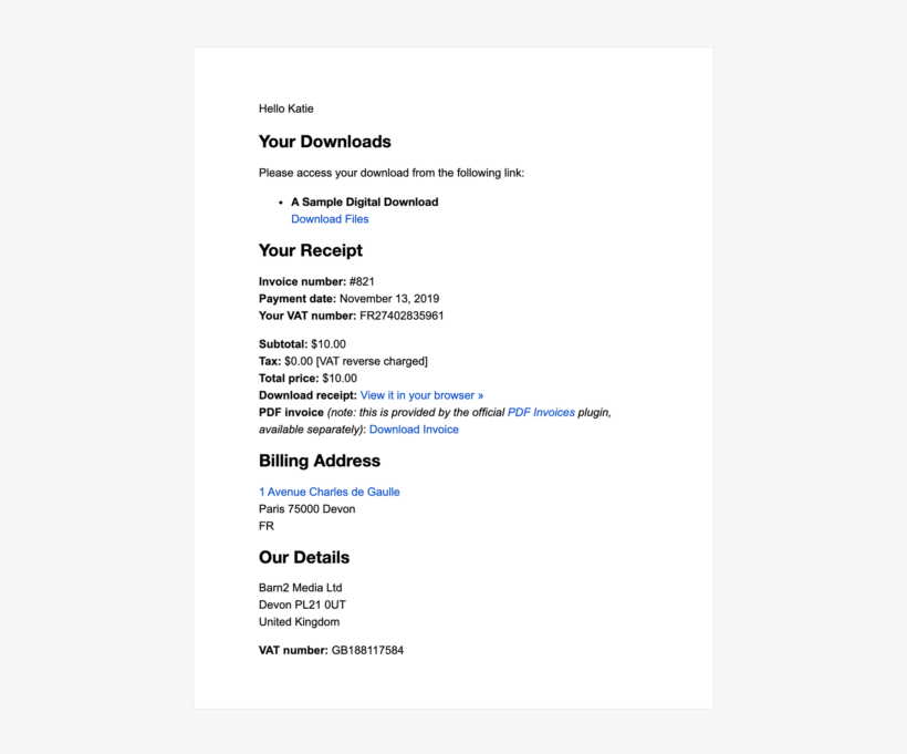 EDD European VAT WordPress plugin screenshot email receipt
