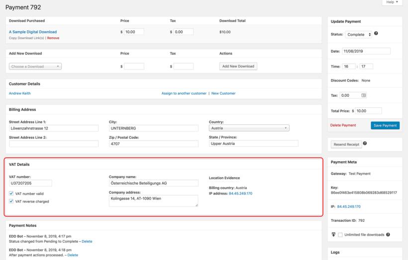 Easy Digital Downloads VAT Details Evidence
