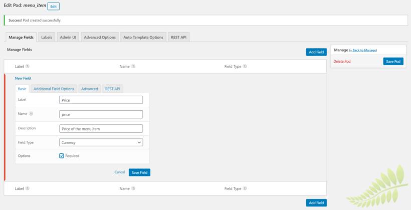 Create custom fields for the new custom post type.
