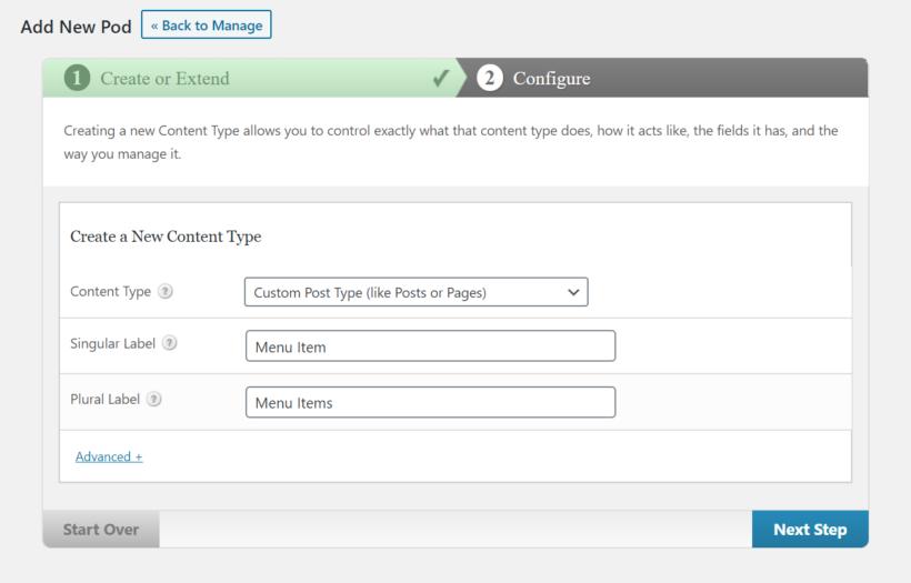 Create a new pod using Pods plugin.