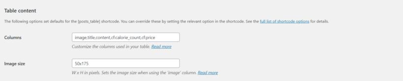 Post Table Pro's columns option.