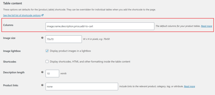 Columns option for WooCommerce Product Table