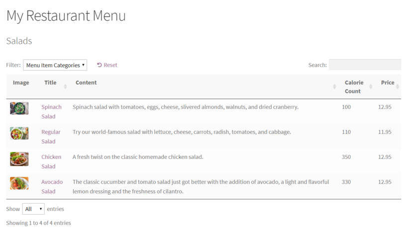 Online restaurant menu in WordPress.