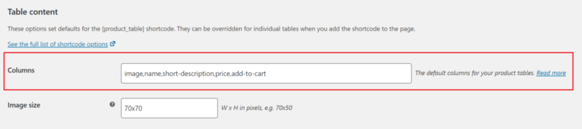 WooCommerce Product Table columns field with images