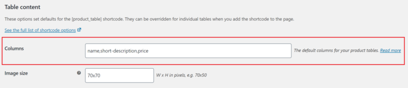WooCommerce Product Table columns field