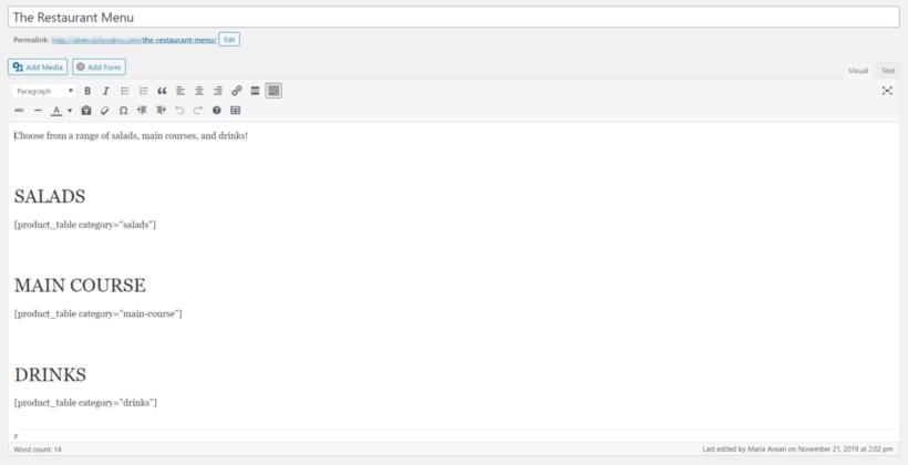 WordPress text editor with separate menu