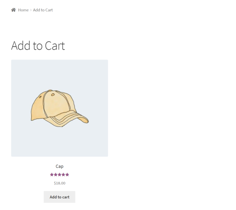 Add to cart page WooCommerce