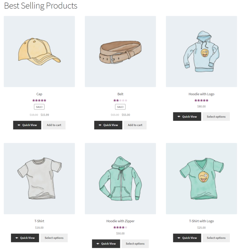 List all best-selling products using WooCommerce shortcodes