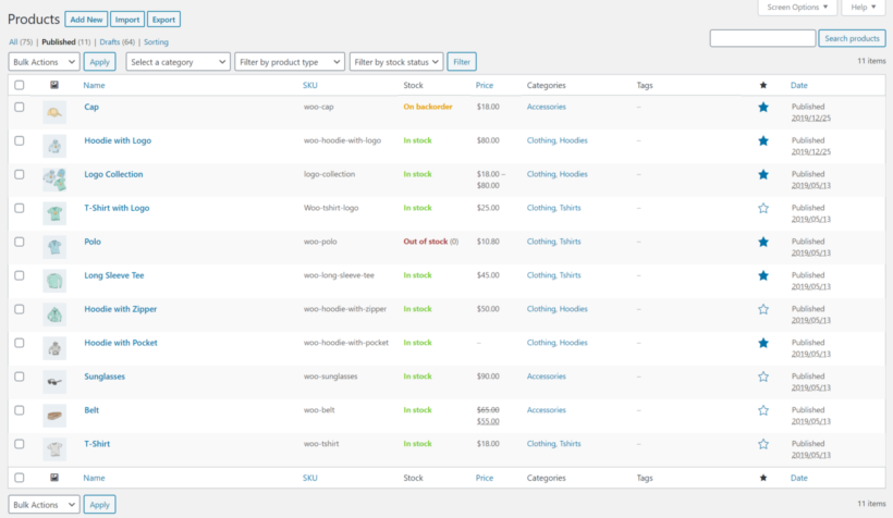 Featured WooCommerce products back-end