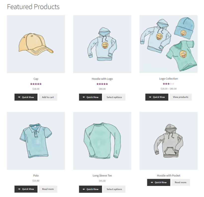 Listing featured products front-end using WooCommerce shortcodes