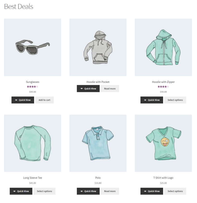 Displaying multiple WooCommerce products with quick view buttons