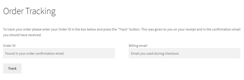 Order tracking page in WooCommerce