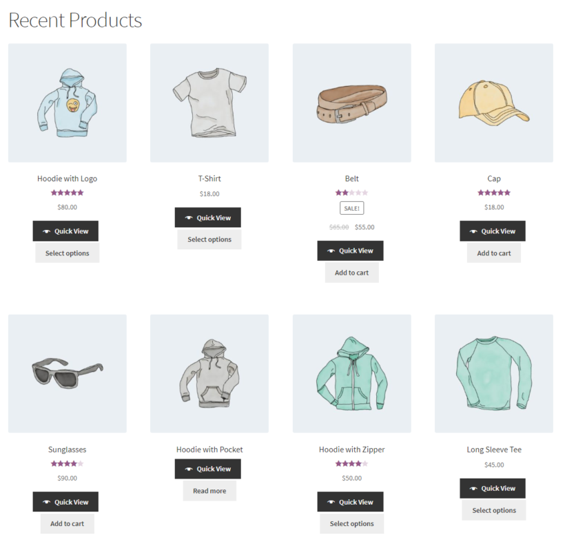 Most recent products on the front-end