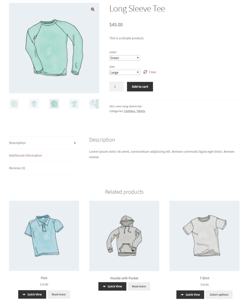 Related products on single product page