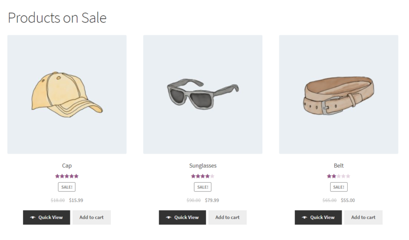 List all WooCommerce products on sale