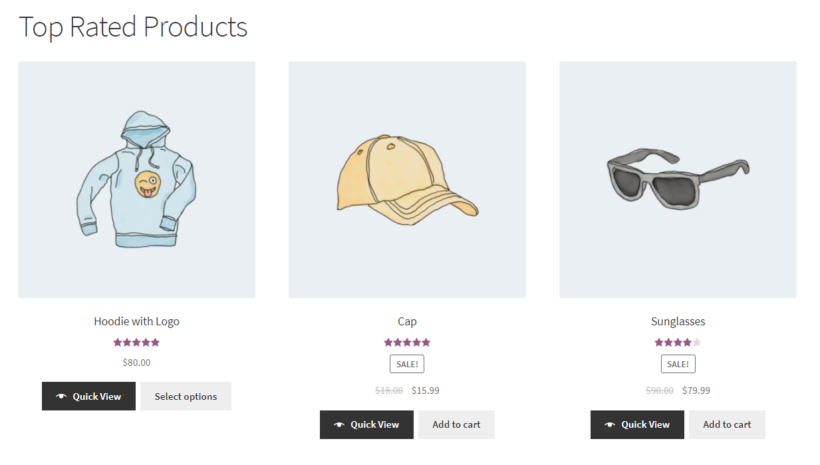 WooCommerce shortcode for top rated products