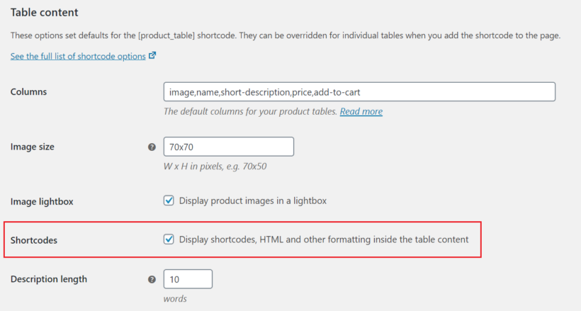Shortcodes option in WooCommerce Product Table