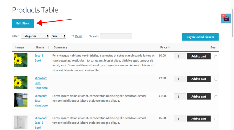 WooCommerce Product Table edit button