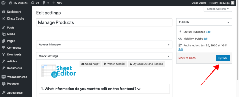 Publish WooCommerce frontend product editor