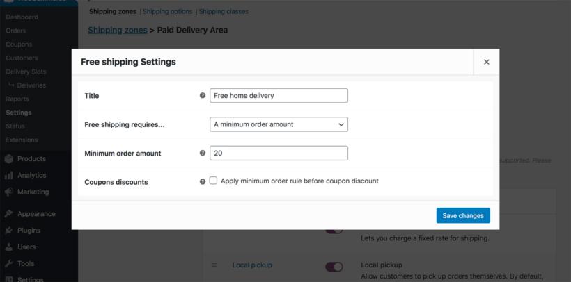WooCommerce restaurant free delivery minimum order value