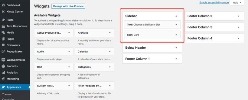 WooCommerce restaurant order form with cart