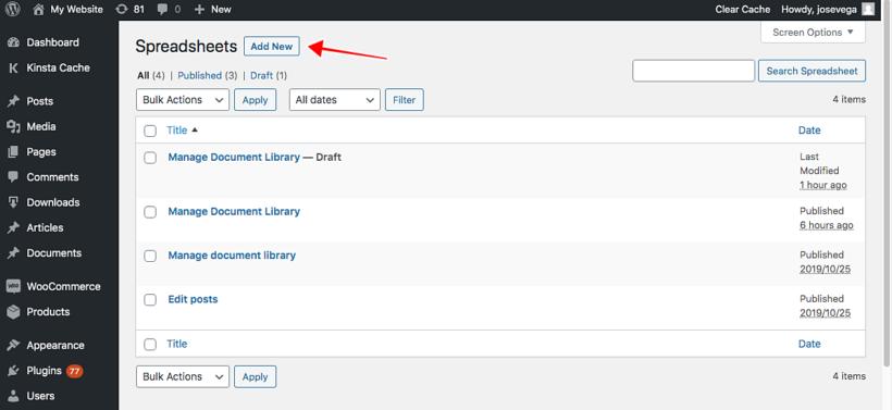 WordPress spreadsheet editor add new