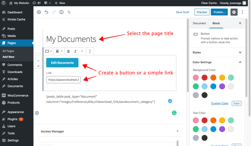Add WordPress front end editor to Posts Table Pro
