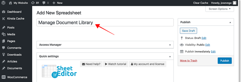 WordPress front end editor table plugin name