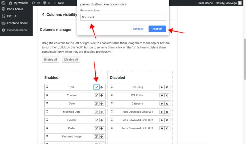 WordPress spreadsheet editor rename columns