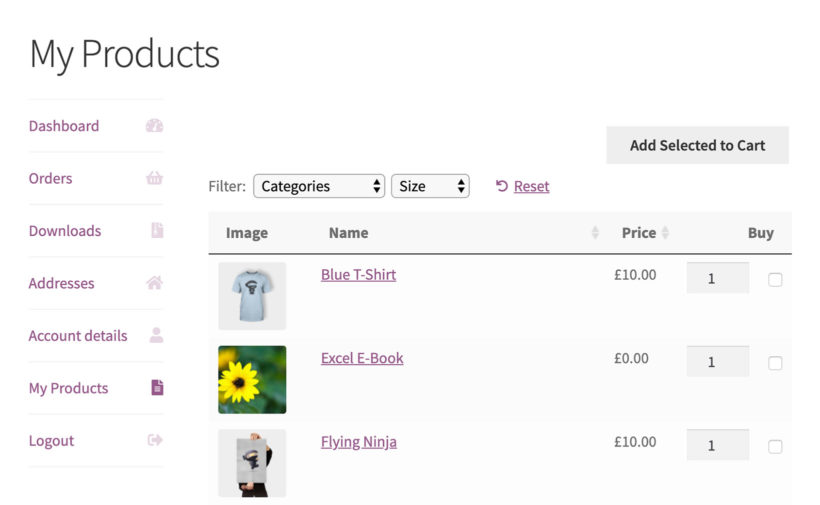 WooCommerce reorder plugin on my account page