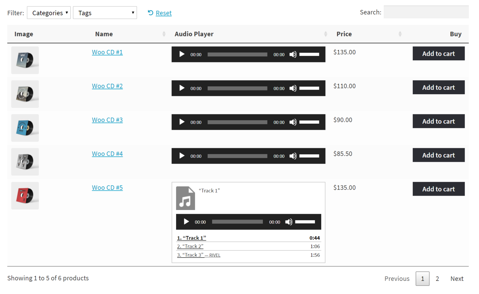 WooCommerce Product Table with embedded audio