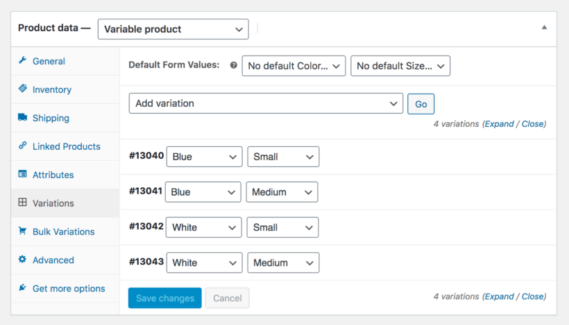 Add WooCommerce product variations for grid