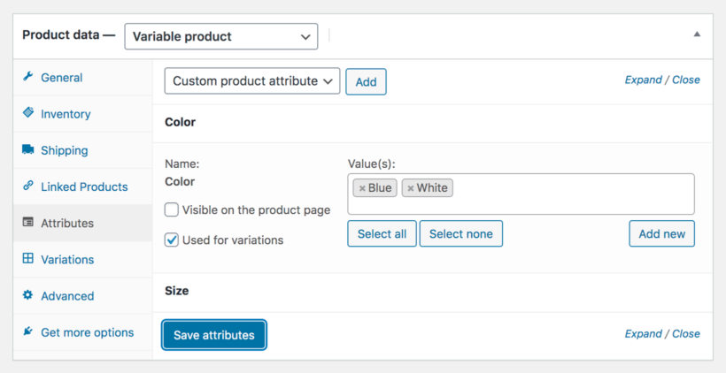 Add attributes for variable product