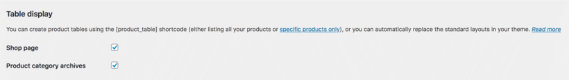 WooCommerce add product table to shop and category pages