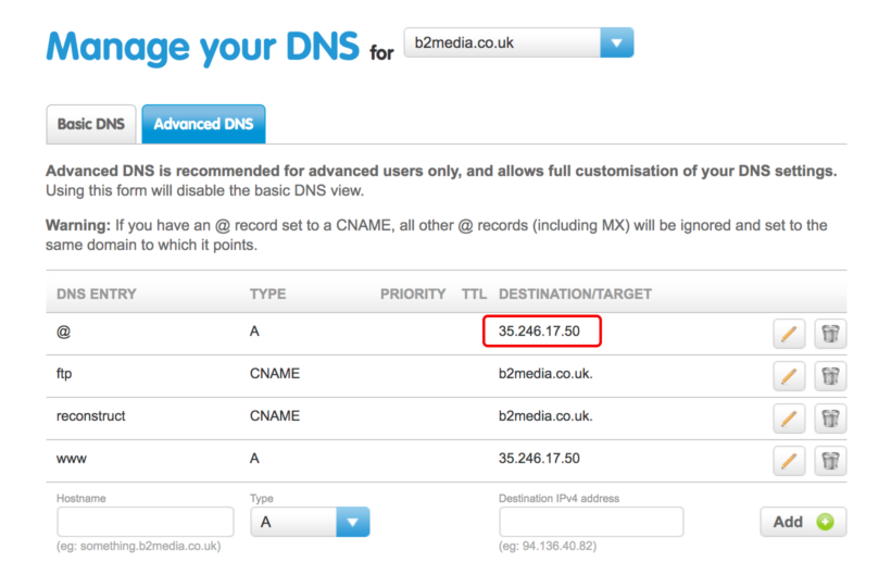 Advanced DNS point domain name to website