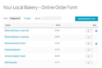 Online bakery order form WooCommerce