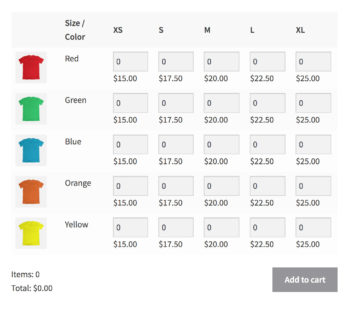 WooCommerce Bulk Variations grid with quantity boxes purchasing