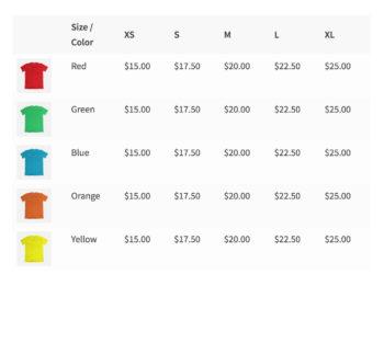 WooCommerce Bulk Variations price matrix grid