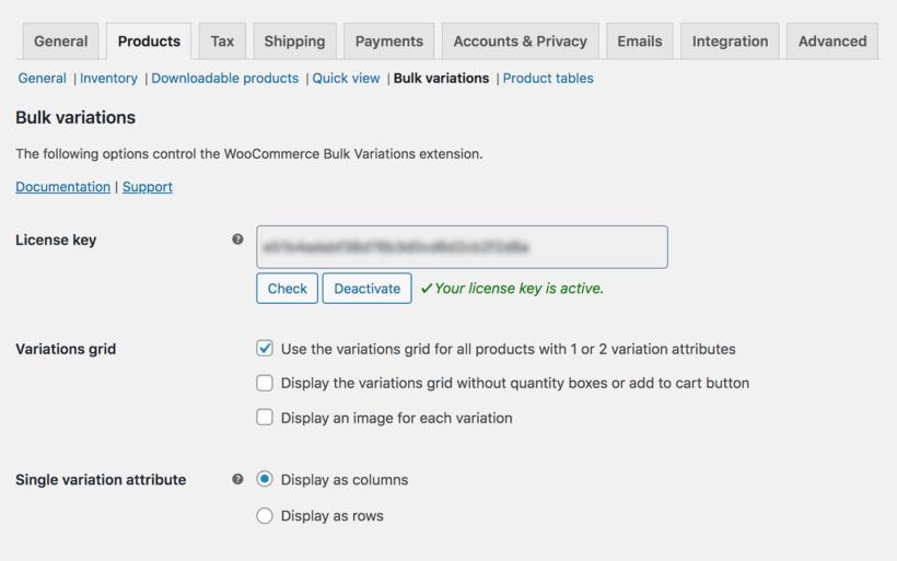 WooCommerce Bulk Variations settings page
