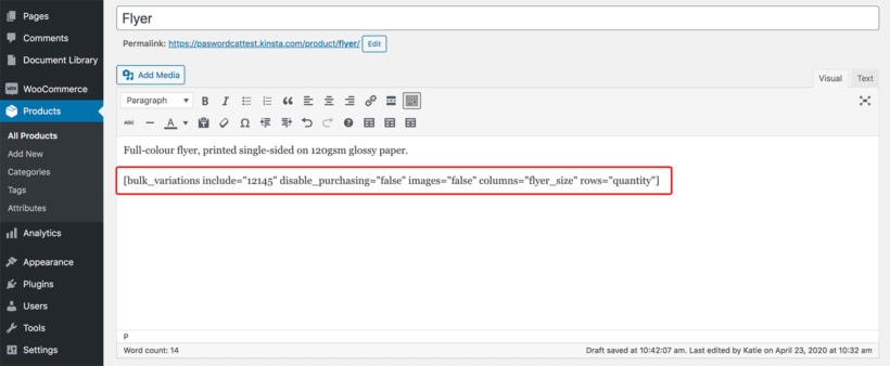 WooCommerce Bulk Variations shortcode product description