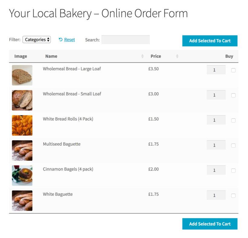 WooCommerce bakery order form plugin