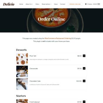 Delicio theme uses WooCommerce Restaurant Ordering plugin