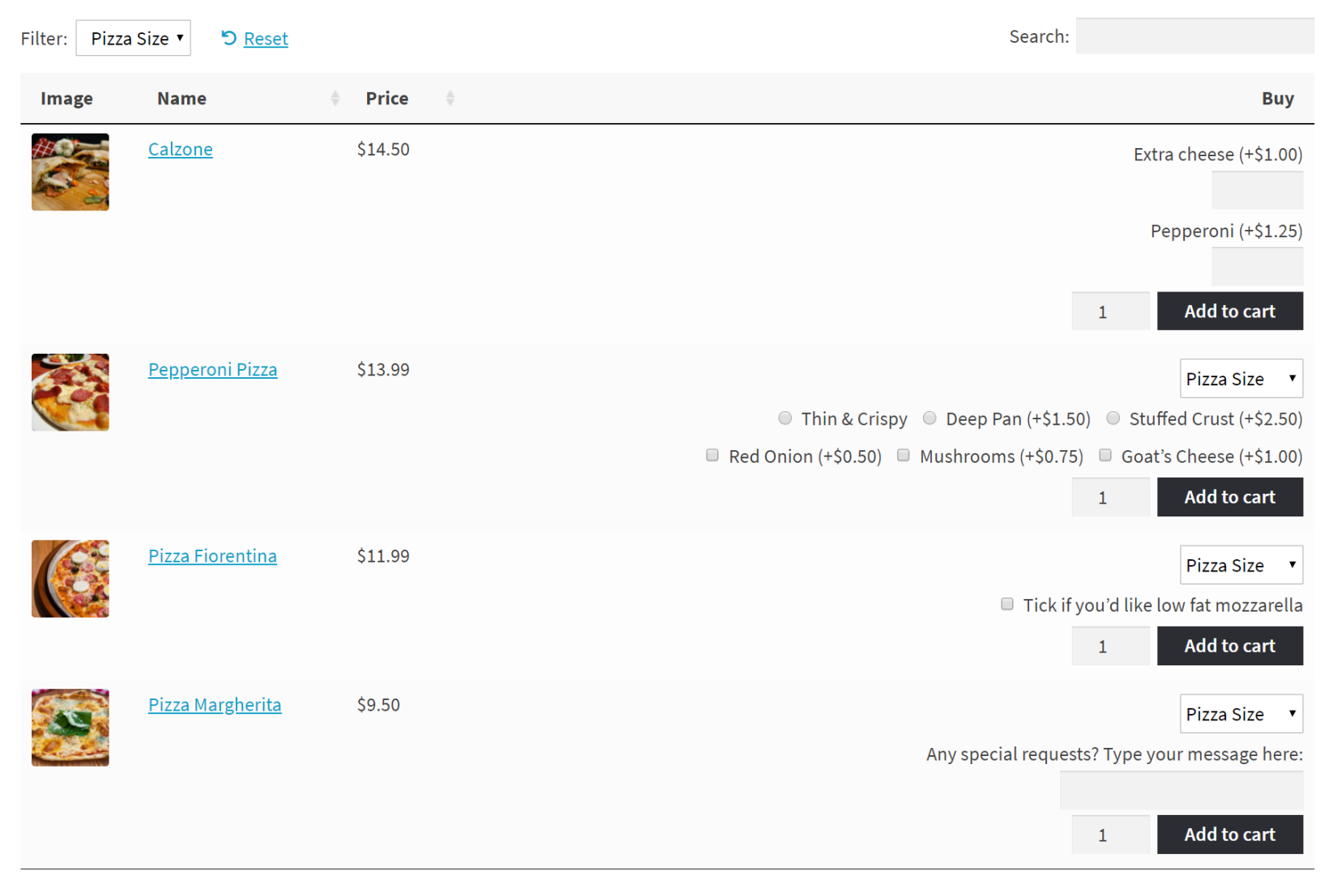 WooCommerce Product Add-Ons with product variations in a table layout