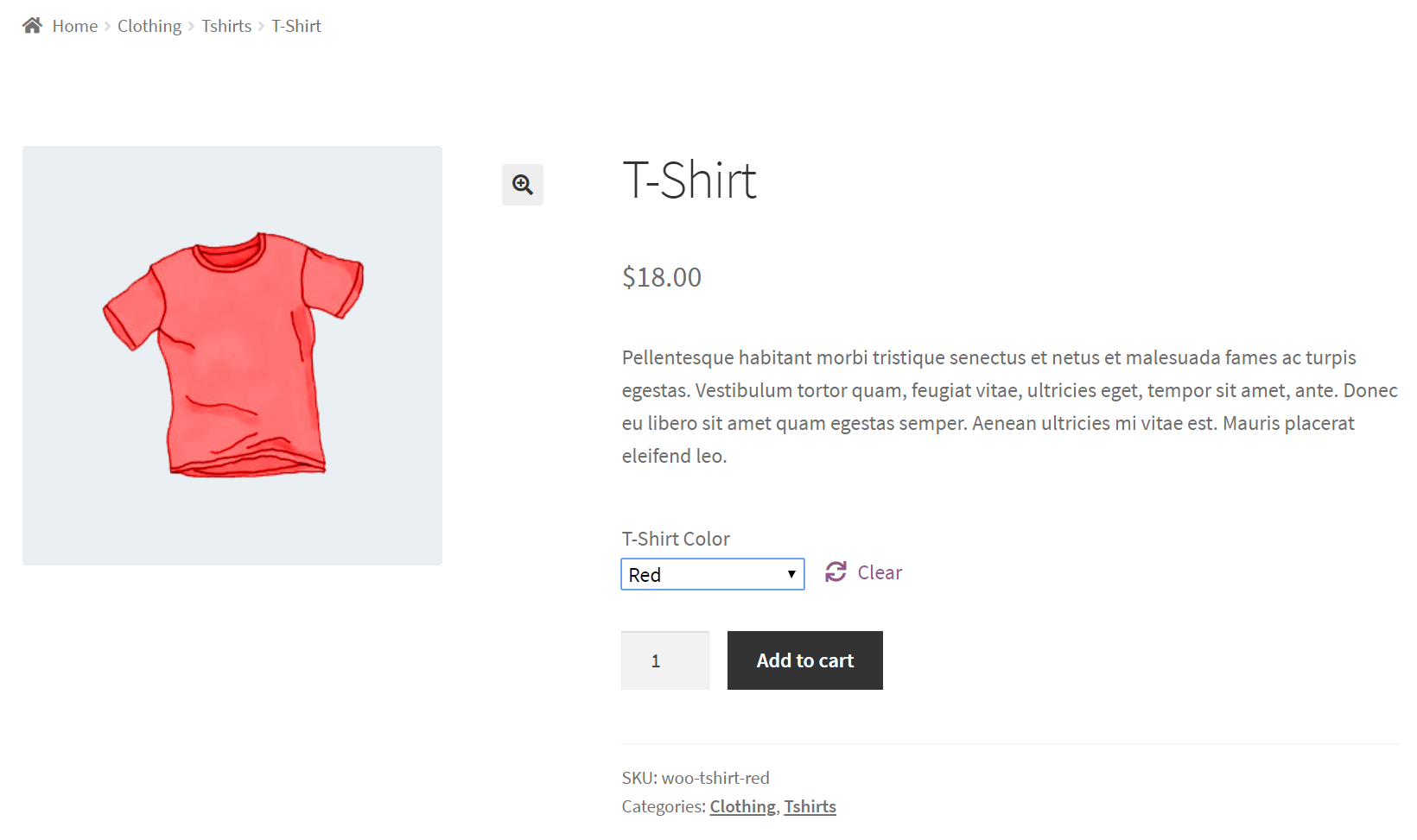 Front-end preview of WooCommerce product variation