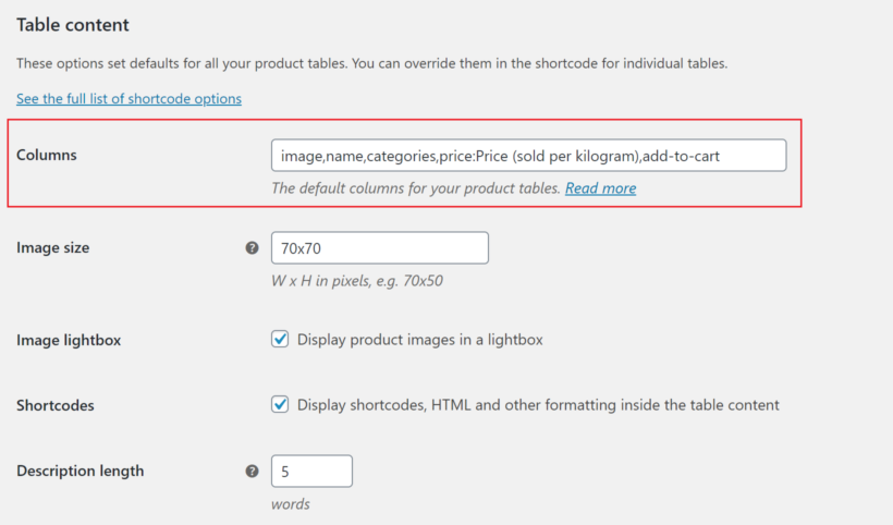 WooCommerce Product Table column settings