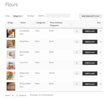 WooCommerce Product Table to sell by weight