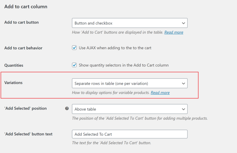 WooCommerce Product Table settings separate variations