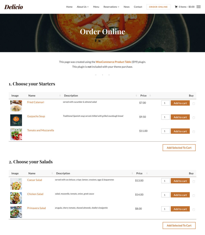 Delicio WooCommerce virtual restaurant theme