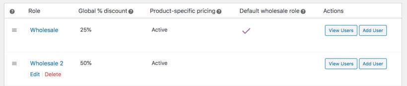 Edit delete WooCommerce wholesale role